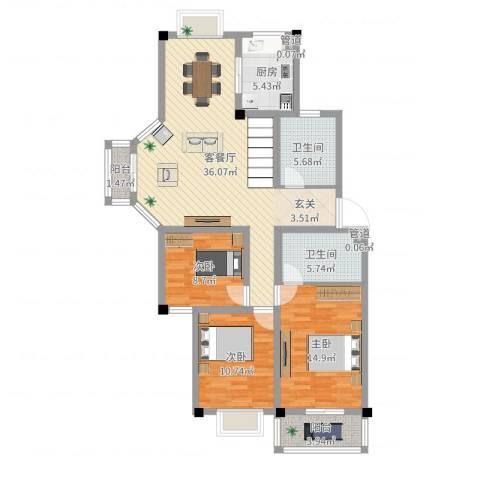 太湖花园三期3室2厅2卫1厨116.00㎡户型图