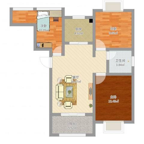 御景龙湾3室1厅1卫1厨86.00㎡户型图