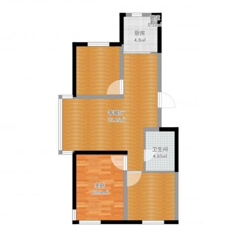 锦城邻里1室2厅1卫1厨85.00㎡户型图