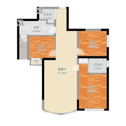 小平岛3室2厅2卫1厨110.00㎡户型图