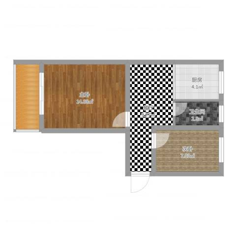 凤凰新村2室1厅1卫1厨52.00㎡户型图