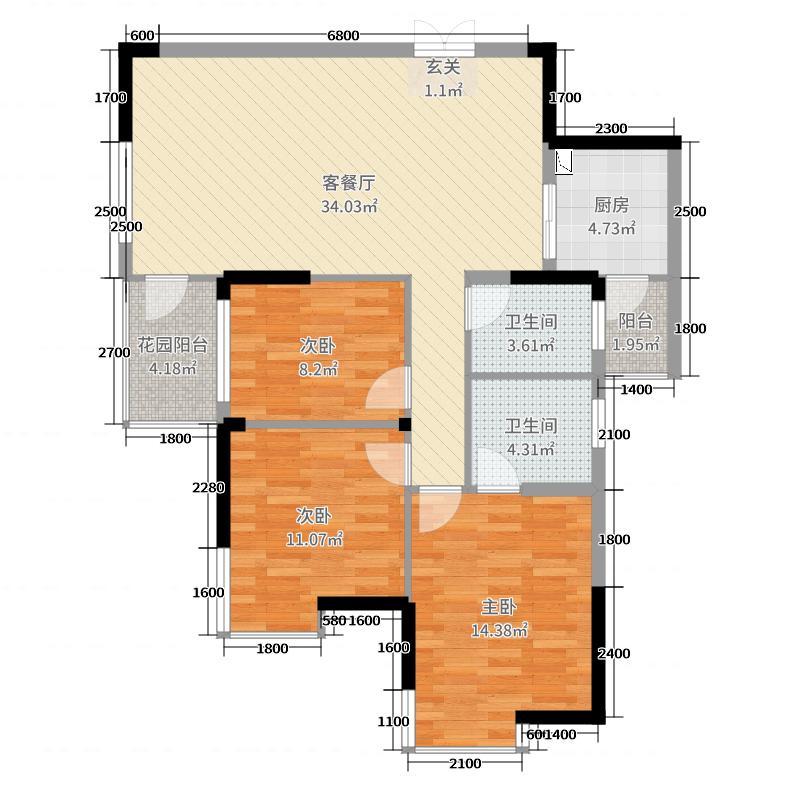 兴威朱雀门112.73㎡7#花涧·舍户型3室3厅2卫1厨