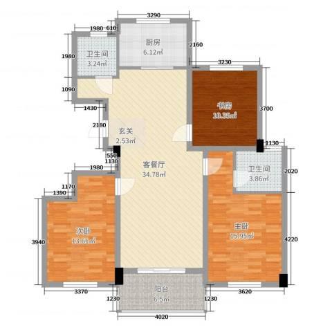 阳光美地3室2厅2卫1厨118.00㎡户型图