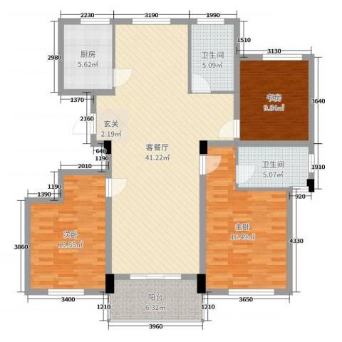 阳光美地3室2厅2卫1厨129.00㎡户型图