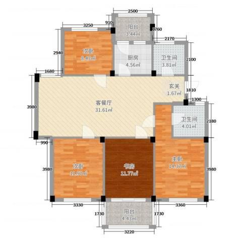 阳光美地4室2厅2卫1厨123.00㎡户型图