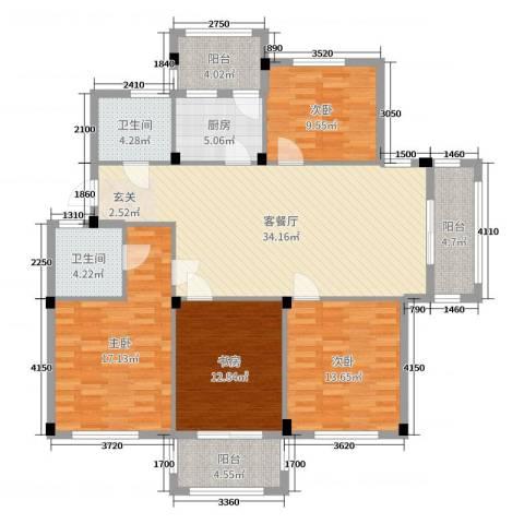 阳光美地4室2厅2卫1厨133.00㎡户型图
