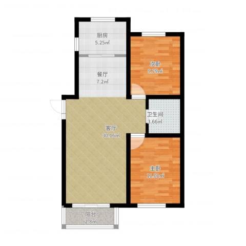 SK新城2室1厅1卫1厨90.00㎡户型图