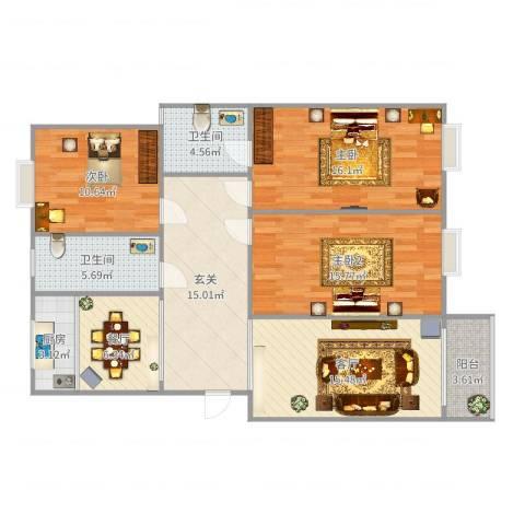 运河人家3室2厅2卫1厨120.00㎡户型图