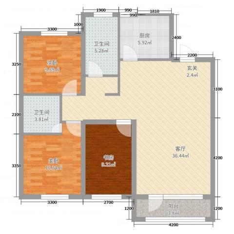 吉星・花园3室1厅2卫1厨124.00㎡户型图