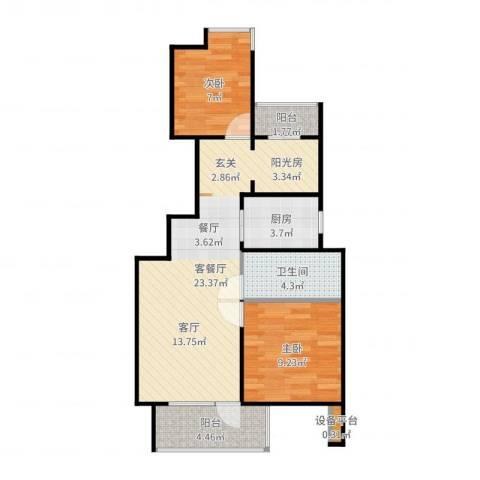 新江湾佳苑2室2厅2卫1厨68.00㎡户型图