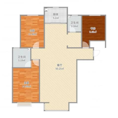 城南春天3室1厅2卫1厨125.00㎡户型图