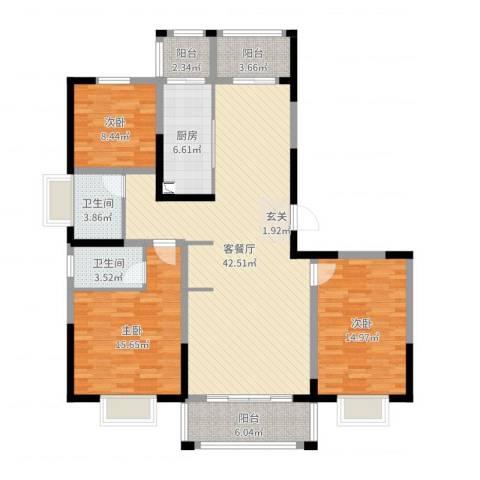 新江湾中凯城市之光3室2厅2卫1厨135.00㎡户型图