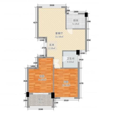 阳光美地2室2厅1卫1厨93.00㎡户型图