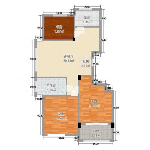 阳光美地3室2厅1卫1厨103.00㎡户型图