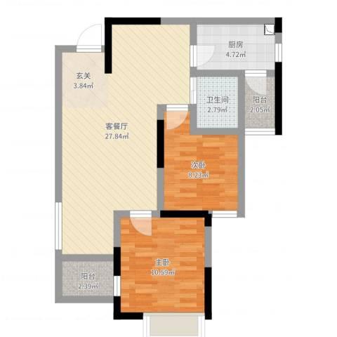 长欣中央广场2室2厅1卫1厨73.00㎡户型图