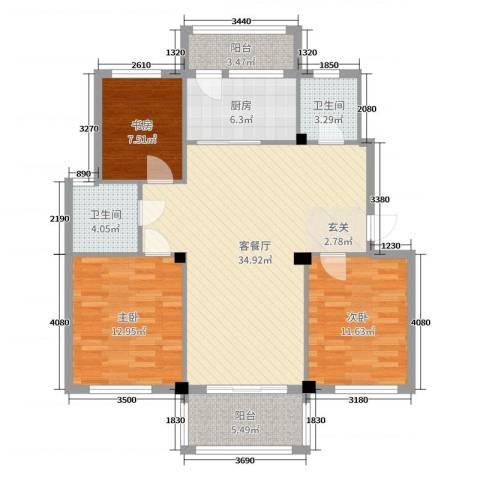 阳光美地3室2厅2卫1厨112.00㎡户型图