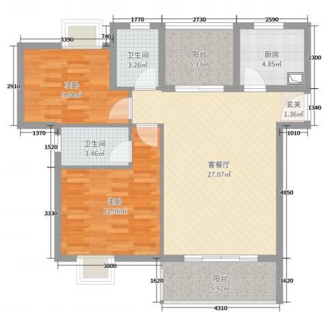 华辉秦淮公馆2室2厅2卫1厨90.00㎡户型图