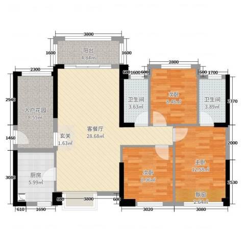优越香格里3室2厅2卫1厨85.60㎡户型图