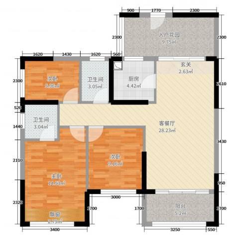 优越香格里3室2厅2卫1厨83.35㎡户型图