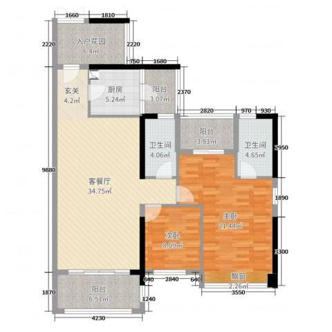 优越香格里2室2厅2卫1厨123.00㎡户型图