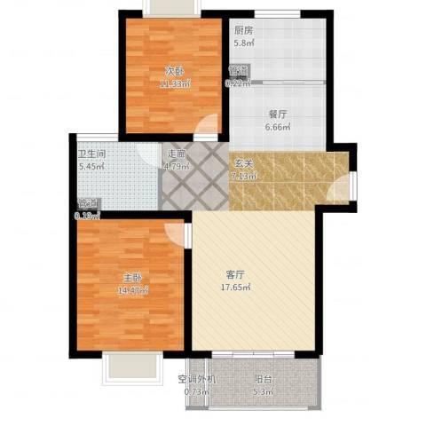 梵顿公馆2室2厅1卫1厨112.00㎡户型图