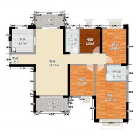 雅居乐剑桥郡4室2厅2卫1厨137.00㎡户型图