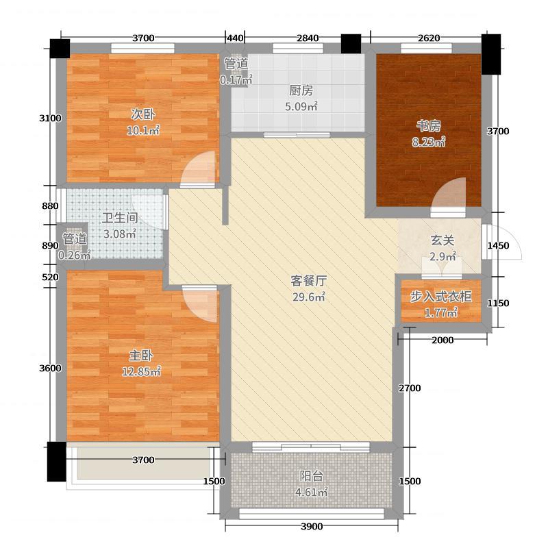 滦州碧桂园112.00㎡4、8-11号楼标准层YJ105A户型3室3厅1卫1厨