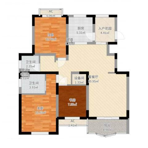 欧洲豪庭3室2厅2卫1厨110.00㎡户型图