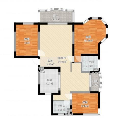 欧洲豪庭3室2厅2卫1厨115.00㎡户型图