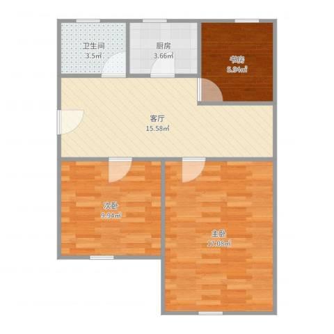 彰武路120弄小区3室1厅1卫1厨70.00㎡户型图