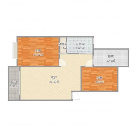 樟树缘公寓2室1厅1卫1厨82.00㎡户型图