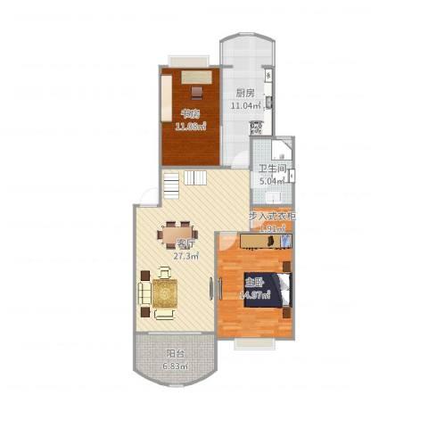 樟树缘公寓2室1厅1卫1厨98.00㎡户型图