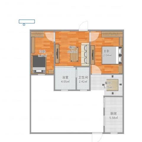 铁桥小区2室1厅1卫1厨54.00㎡户型图