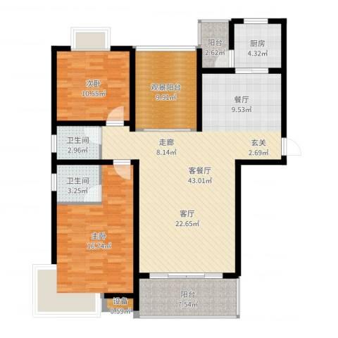 安鑫雅庭2室2厅2卫1厨127.00㎡户型图