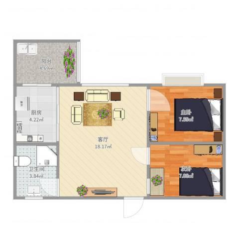 龙景台2室1厅1卫1厨57.00㎡户型图