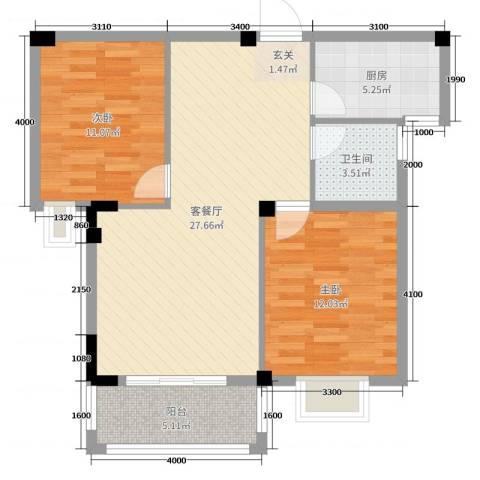 日出东辉2室2厅1卫1厨79.00㎡户型图