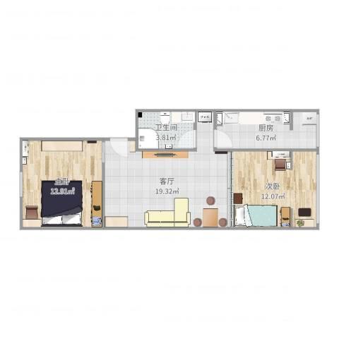 建欣苑一里5楼一单元2室1厅1卫1厨69.00㎡户型图