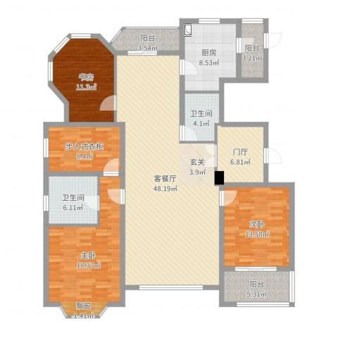 浦江公馆3室2厅2卫1厨172.00㎡户型图