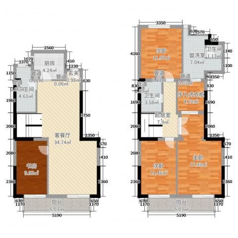 富春新天地4室2厅3卫1厨130.00㎡户型图