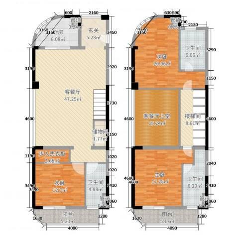 富春新天地3室2厅3卫1厨160.00㎡户型图