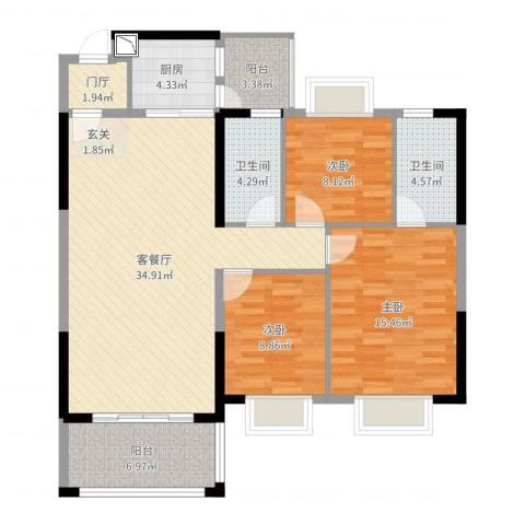 东方明珠花园商住小区3室2厅2卫1厨116.00㎡户型图