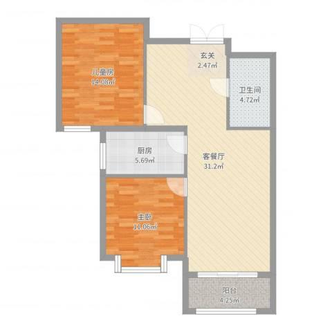 北京御园2室2厅1卫1厨89.00㎡户型图