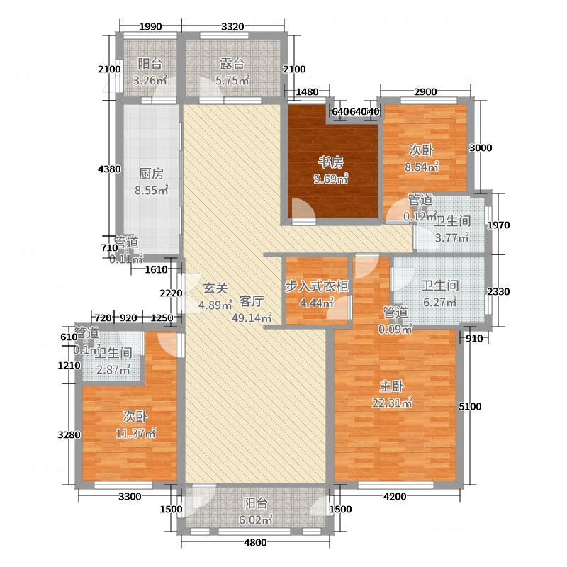 �恃粜鲁�184.05㎡106#楼109#楼115#楼标准层V4户型4室4厅3卫1厨