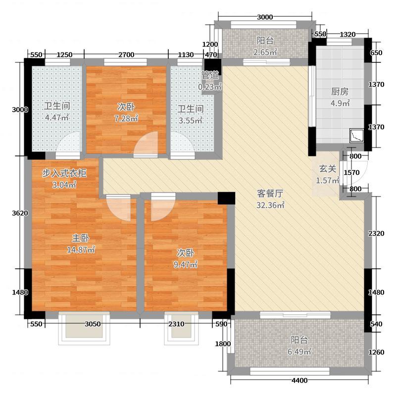 南部・美的城110.00㎡B户型3室3厅2卫1厨