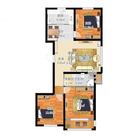 金色玺园3室2厅1卫1厨116.00㎡户型图