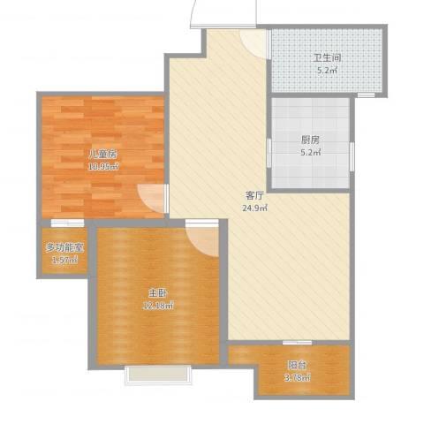 晶御中央2室1厅1卫1厨80.00㎡户型图