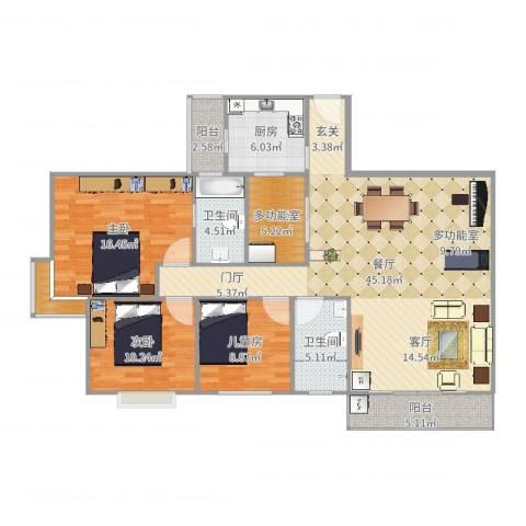 粤港花园3室1厅2卫1厨138.00㎡户型图