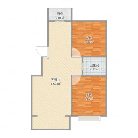美域澜苑2室2厅1卫1厨91.00㎡户型图
