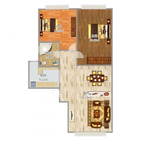 宝星国际108平米南北两居2室1厅1卫1厨108.00㎡户型图