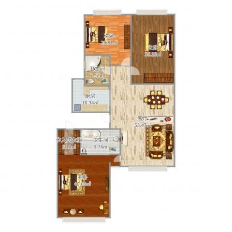 宝星国际108平米南北两居3室1厅2卫1厨215.00㎡户型图